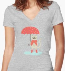 Rainy Day Women's Fitted V-Neck T-Shirt