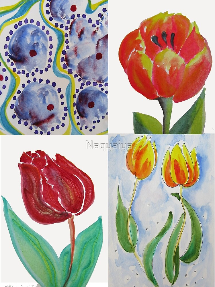Tulips in a collection reds and yellows and blues watercolor by Naquaiya