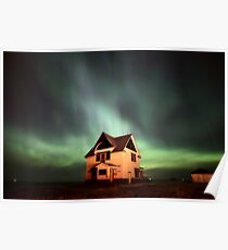 Northern Lights over Saskatchewan farmhouse Poster