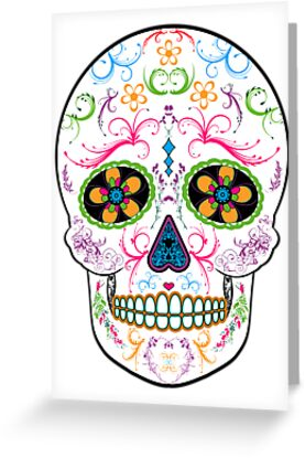 day of the dead sugar skull bright multi color by thecannyartisan