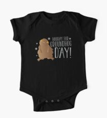 HOORAY FOR GROUNDHOG DAY! with cute little groundhog and snowflakes Kids Clothes