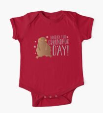 HOORAY FOR GROUNDHOG DAY! with cute little groundhog and snowflakes One Piece - Short Sleeve