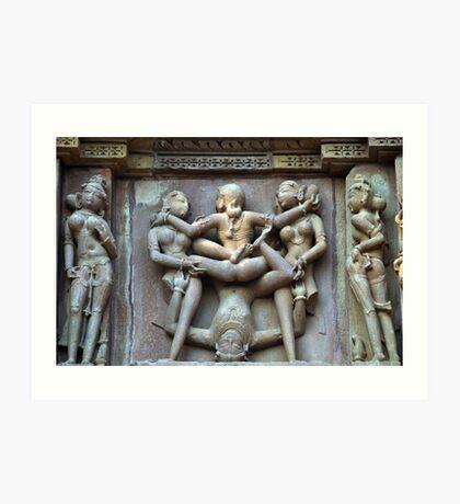Kamasutra carvings on Khajuraho temple walls Art Print