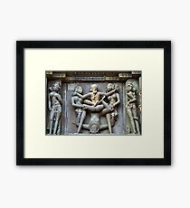 Kamasutra carvings on Khajuraho temple walls Framed Print
