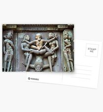 Kamasutra carvings on Khajuraho temple walls Postcards