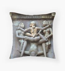 Kamasutra carvings on Khajuraho temple walls Throw Pillow