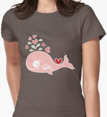 Whimsical Cute Twins Baby Pink Pregnant Mommy Whale T-Shirt