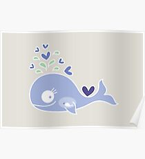 Whimsical Cute Indigo Purple Pregnant Mommy Whale Poster