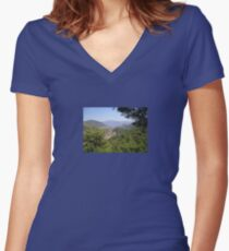 Landscape Of Icmeler Marmaris Turkey From Mountain Road Women's Fitted V-Neck T-Shirt