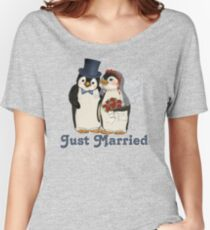 Penguin Wedding - Just Married Women's Relaxed Fit T-Shirt