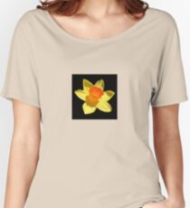 Spring Daffodil Isolated On Black Women's Relaxed Fit T-Shirt