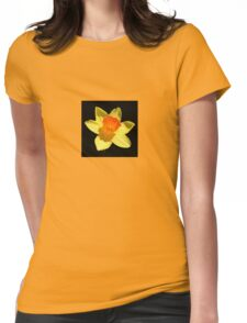 Spring Daffodil Isolated On Black Womens Fitted T-Shirt