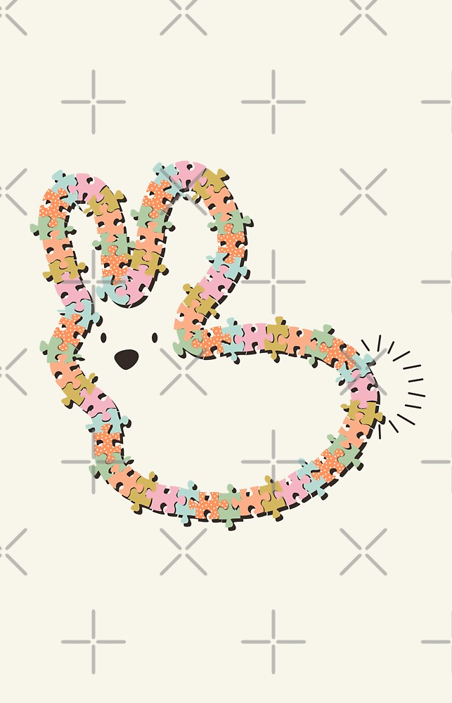 Pastels Jigsaw Whimsical Baby Bunny by fatfatin