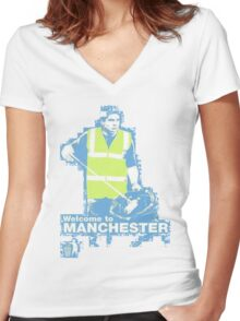 Welcome to Manchester Tevez Women's Fitted V-Neck T-Shirt