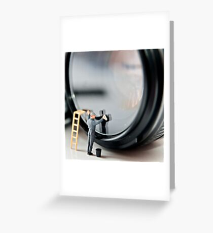 Cleaning a Lens (Micro world no 1) Greeting Card