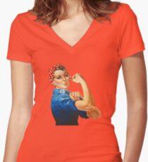 Camiseta entallada de cuello en V Rosie la remachadora