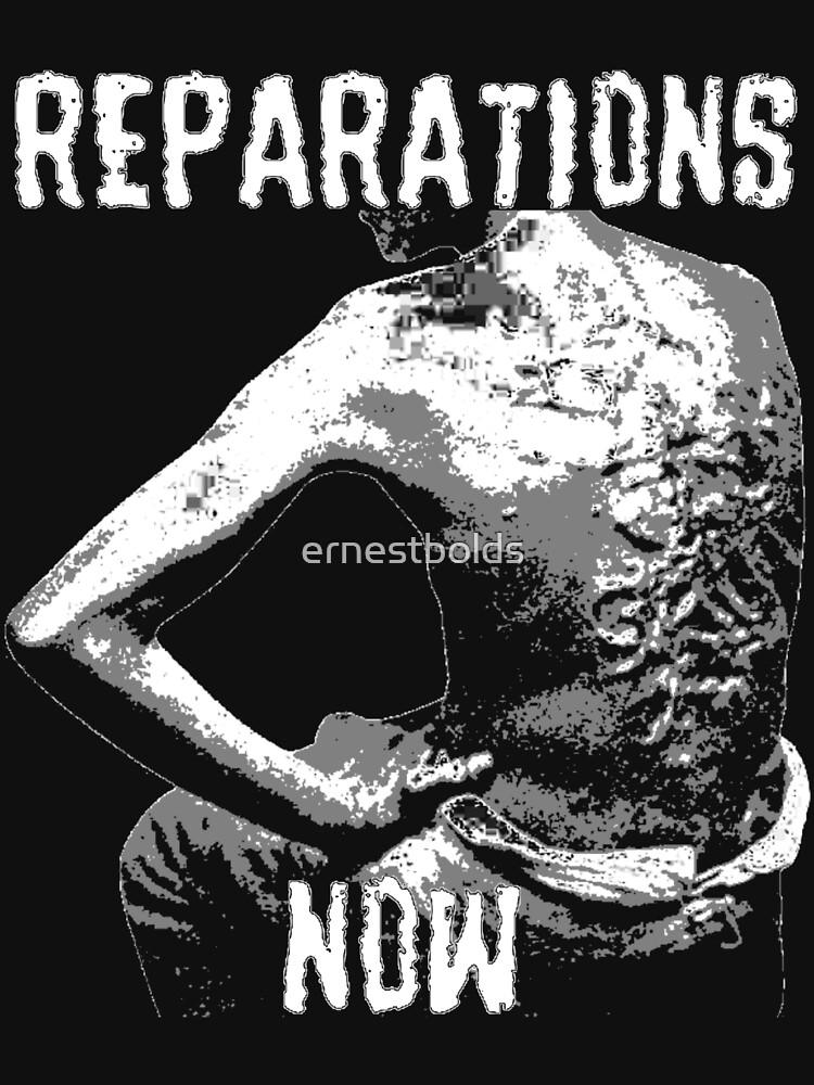 REPARATIONS NOW BATTERED SLAVE BACK SHIRT. (DARK) by ernestbolds