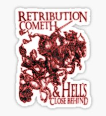 REVENGE, Four Horsemen of the Apocalypse, Durer, Retribution Cometh & Hell's Close behind! Biblical, Bible, Red Shadow on White Sticker