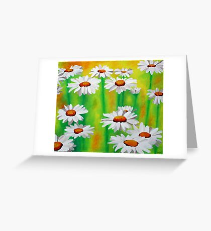 White Daisies On A Yellow And Green Summery Background Greeting Card