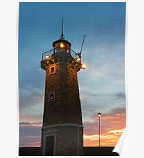 Desenzano del Garda Old Lighthouse and a Lamp Post Sunrise Poster