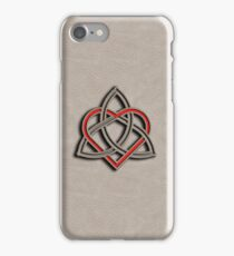 Celtic Knot Valentine Heart White Leather iPhone Case/Skin