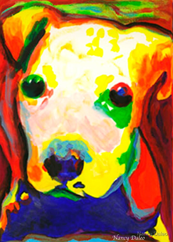Color Me dog 1  Pit Bull puppy  contemporary art by Nancy Daleo