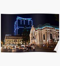 Vietnam. Ho Chi Minh City (Saigon). Opera House at Night. Poster