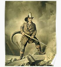 Old Fireman Illustration Poster