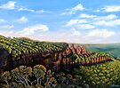 Towards Echo Point, Blue Mtns Australia by Linda Callaghan
