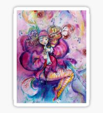 PINK MUSICAL CLOWN WITH OWL Sticker