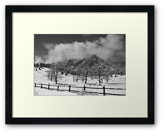 Snowy Flatirons Boulder Colorado Landscape View BW by Bo Insogna