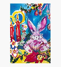 PINK  RABBIT WITH CHRISTMAS CANDLES AND HOLLYBERRIES Photographic Print