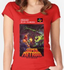 Super Metroid Nintendo Super Famicom Japanese Box Art Shirt (SNES) Women's Fitted Scoop T-Shirt