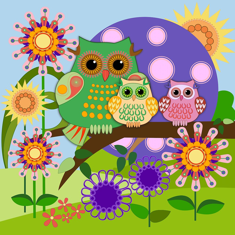 Owl family in a Floral fun environment. by walstraasart