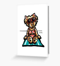Beach Babe Yorkie Greeting Card