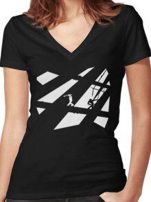 Black and White Shinobis Women's Fitted V-Neck T-Shirt