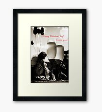 Happy Valentines day greeting card Framed Print