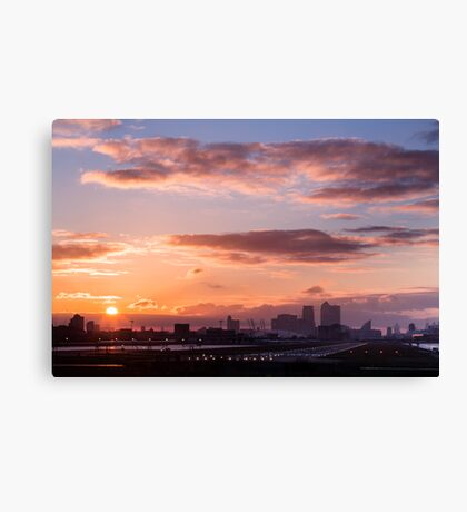 London city Airport sunset, with Canary Wharf and O2 Arena Canvas Print