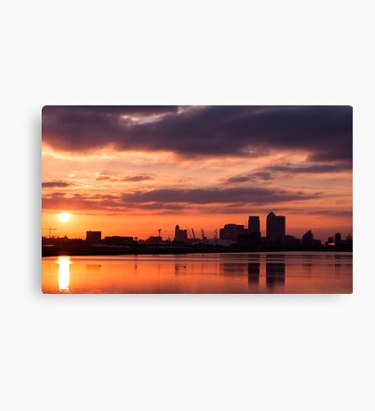 Canary Wharf and O2 Arena Sunset with reflection in the water Canvas Print