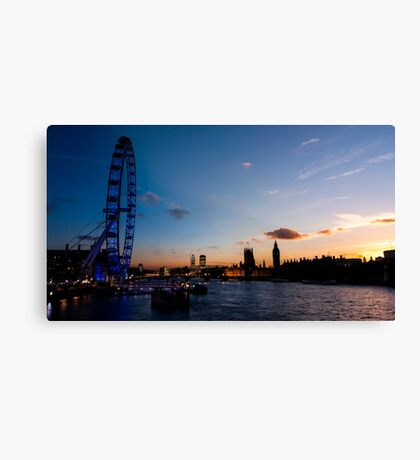 Transition of Sunset London eye and Westminster from Embankment Bridge Canvas Print