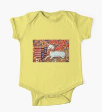 UNICORN WITH RED BLUE FLORAL MOTIFS One Piece - Short Sleeve