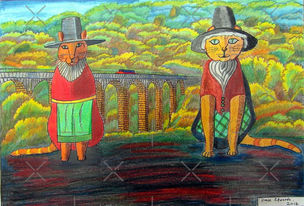 379 - TWO WELSH CATS - DAVE EDWARDS - COLOURED PENCILS - 2013 by BLYTHART