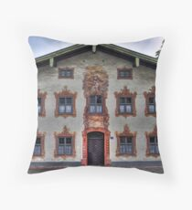 Painted Houses - Lüftlmalerei - Oberammergau - Germany Throw Pillow