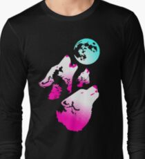 Three Wolves and a Moon Neon Long Sleeve T-Shirt