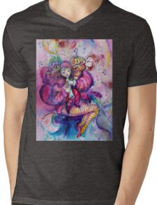 PINK MUSICAL CLOWN WITH OWL Mens V-Neck T-Shirt