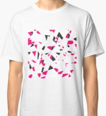 Pink, Black, and White Modern Geo Triangle Pattern Classic T-Shirt