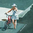 Girl with Bicycle by Dan Wilcox
