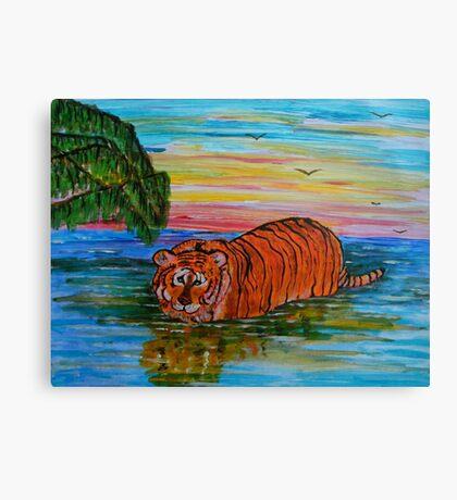 Tiger bathing at sunset Canvas Print