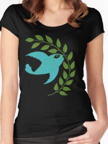 Bluebird with Green Garland  Women's Fitted Scoop T-Shirt