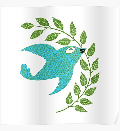 Bluebird with Green Garland  Poster